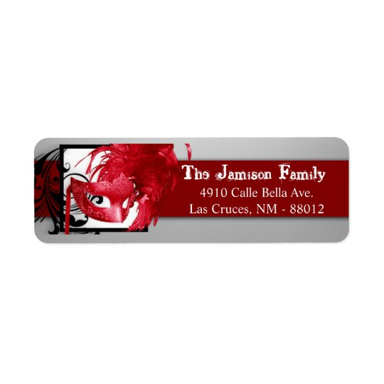 ".75""x2.25"" Return Address Label Red Masquerade"