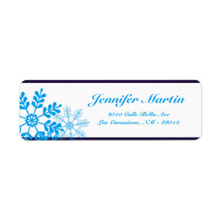 ".75""x2.25"" Return Address White Snow Flakes Return Address Label"