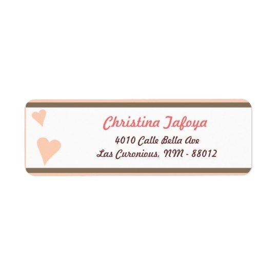 ".75"" x 2.25"" Return Address Light Coral Pink/Brown Return Address Label"