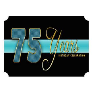 "75 YEARS BIRTHDAY PARTY INVITATION AQUA/BLACK 5"" X 7"" INVITATION CARD"