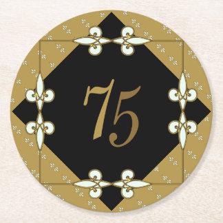 75th (10-99) Birthday Stylish Vintage Art Deco Round Paper Coaster
