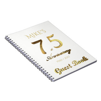 75th Anniversary 75 Years Party Guest Book Gold