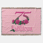 75th birthday 75 and fabulous pink flowers blanket
