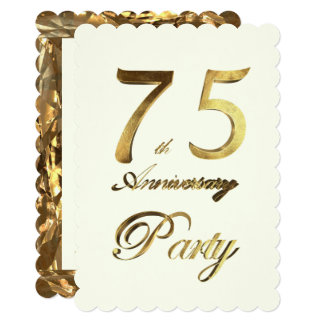 75th Birthday Anniversary Gold Ivory Elegant Card