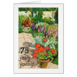 75th Birthday Card - Red Geraniums