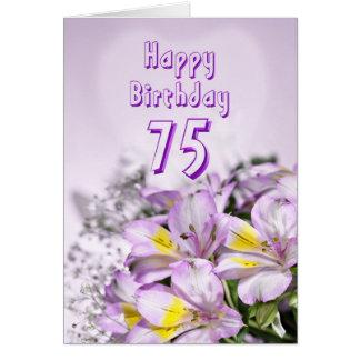 75th Birthday card with alstromeria lily flowers