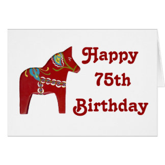 75th Birthday Card with Dala Horse