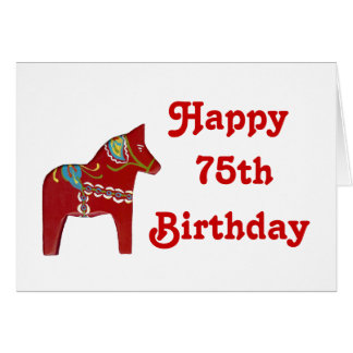 75th Birthday Card with Dala Horse