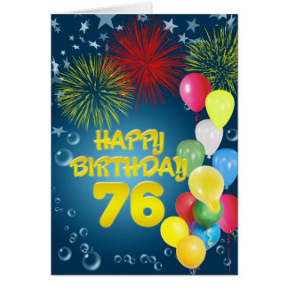 75th Birthday card with fireworks and balloons
