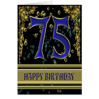 75th birthday card with gold and bubbles