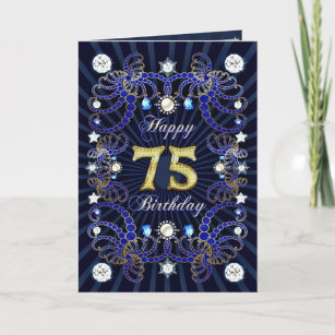 75th Birthday Card With Masses Of Jewels