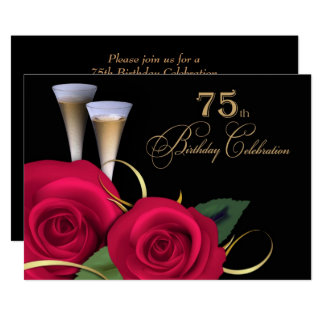 75th Birthday Celebration Custom Invitations