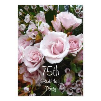 75th Birthday Celebration-Pink Roses 13 Cm X 18 Cm Invitation Card