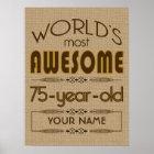75th Birthday Celebration World Best Fabulous Poster