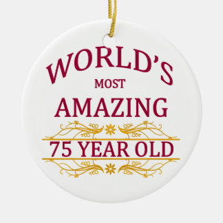 75th. Birthday Ceramic Ornament