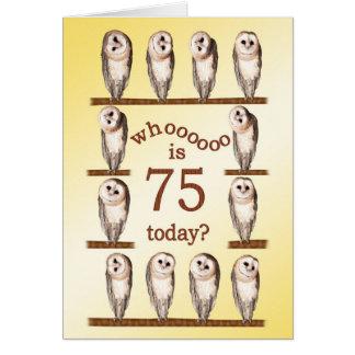75th birthday, Curious owls card. Card