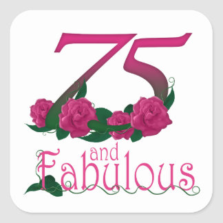 75th birthday fabulous pink floral age number square sticker
