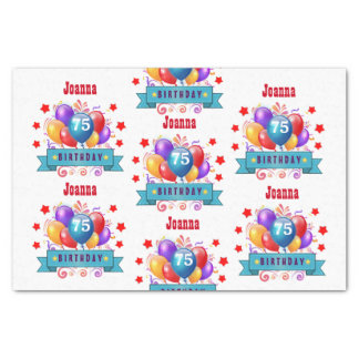 75th Birthday Festive Colorful Balloons C01GZ Tissue Paper