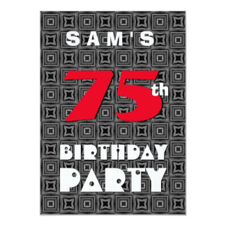 75th Birthday For Him Black White Pattern A11 Card