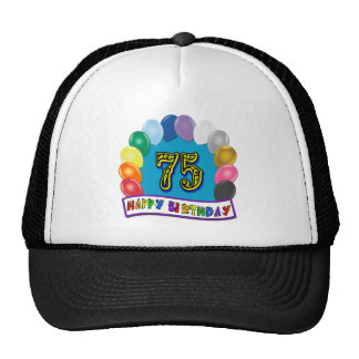 75th Birthday Gifts with Assorted Balloons Design Cap