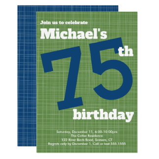 75th Birthday Invitation Blue with Green Accent,