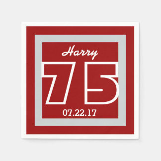 75th Birthday Modern Geometric Square Frame Paper Napkins