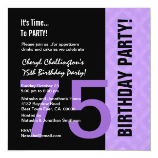 75th Birthday Modern Purple Black C848 Card