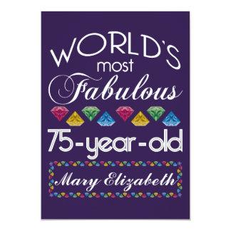"75th Birthday Most Fabulous Colorful Gems Purple 5"" X 7"" Invitation Card"