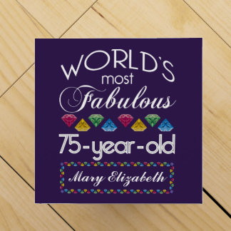 75th Birthday Most Fabulous Colourful Gems Purple Wine Box