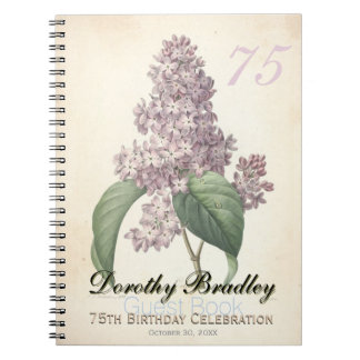75th Birthday Party Botanical Lilac Guest Book Spiral Note Book