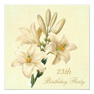 75th Birthday Party Chic Vintage Lily Flowers Card