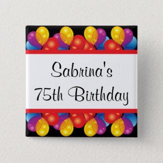 75th Birthday Party | DIY Text 15 Cm Square Badge