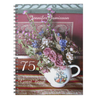75th Birthday Party Guest Book, Vintage Teapot Notebook