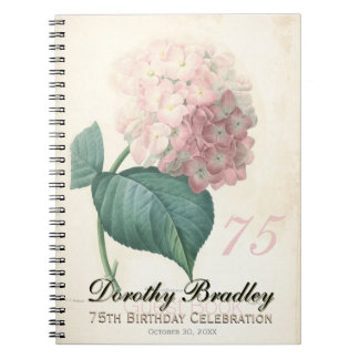 75th Birthday Party Hydrangea Custom Guest Book