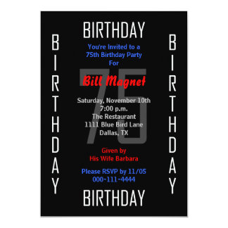 75th Birthday Party Invitation 75