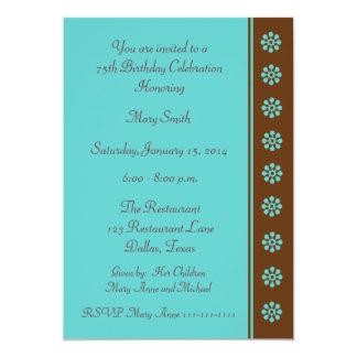 75th Birthday Party Invitation Aqua and Brown