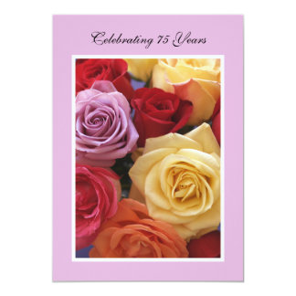 75th Birthday Party Invitation Beautiful Roses