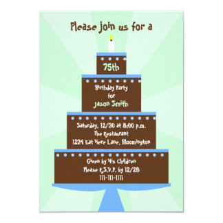 75th Birthday Party Invitation Cake on Green