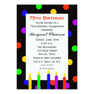 75th Birthday Party Invitation Candles and Dots