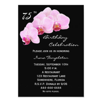75th Birthday Party Invitation Orchids