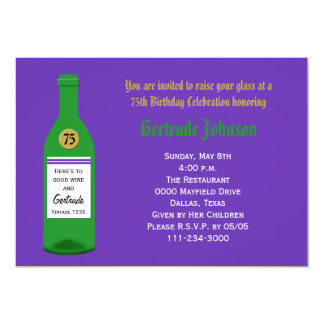 75th Birthday Party Invitation Purple