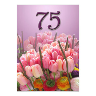 75th Birthday Party Invitation - Tulips
