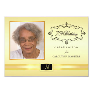 75th Birthday Party Invitations with Photo