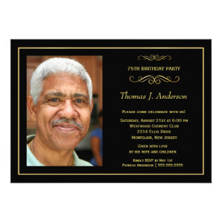75th Birthday Party Invitations - with photo