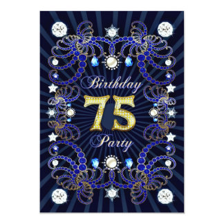 75th birthday party invite with masses of jewels