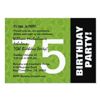 75th Birthday Party Modern Horizontal Side Color 13 Cm X 18 Cm Invitation Card