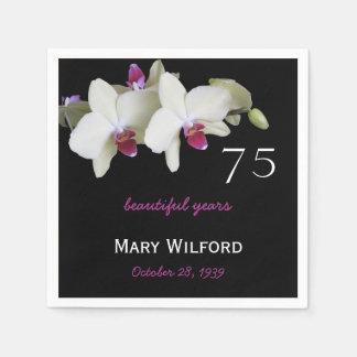 75th Birthday Party Orchid Paper Napkins Disposable Napkin