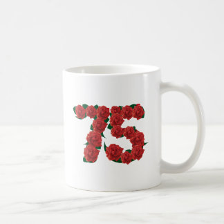 75th birthday red rose number 75 coffee mug