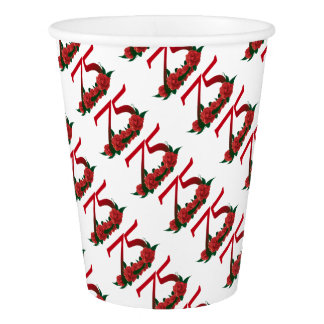 75th birthday red rose number 75 paper cup