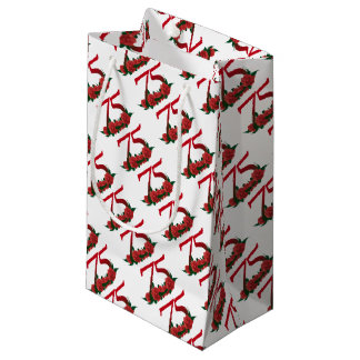 75th birthday red rose number 75 small gift bag